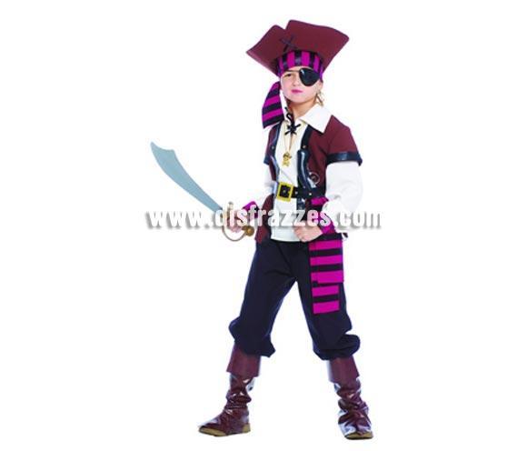 Disfraz de Pirata infantil. Talla de 10 a 12 años. Incluye sombrero, cinta de la cabeza, camisa, chaleco, cinturón, pantalón y cubrebotas. Accesorios NO incluidos, podrás verlos en la sección Complementos. Precioso y diferente disfraz de Pirata para niños perfecto para Fiestas, para regalar y para Carnavales.