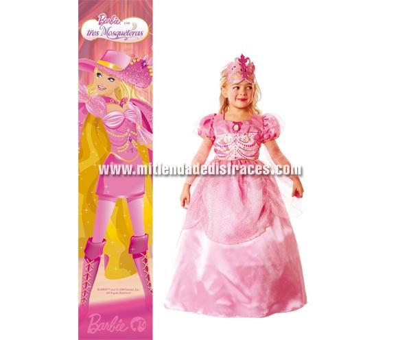 Disfraz de Barbie y las 3 Mosqueteras infantil. Disponible en varias tallas . Incluye vestido y antifaz. Presentación en percha y bolsa. Disfraz con licencia ideal como regalo en Navidad y Reyes Magos o para cualquier Fiesta del año.