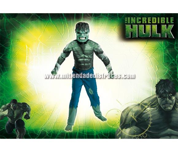 Disfraz de Hulk infantil. Disponible en varias tallas. Incluye disfraz y careta. Disfraz con licencia ideal para pedir a los Reyes Magos o Papa Noel. Presentación en percha y bolsa.