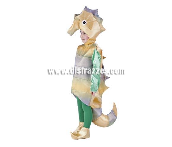 Disfraz de Caballito de Mar infantil para Carnaval. Disponible en varias tallas. Incluye disfraz, capucha y cubrepies. Medias NO incluidas. Alta calidad. Hecho en España.
