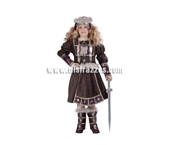 Disfraz de Vikinga infantil para Carnaval. Disponible en varias tallas. Espada y peluca NO incluidas. Alta calidad. Hecho en España.