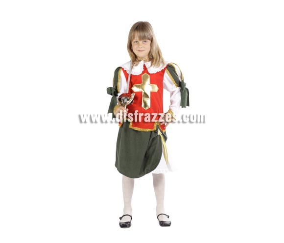 Disfraz de Espadachina infantil para Carnaval. Varias tallas. Incluye falda y camisa con cuello. Alta calidad. Hecho en España.