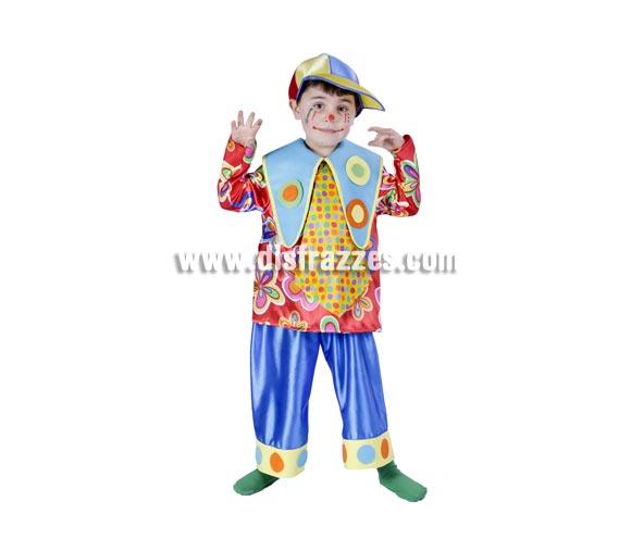 Disfraz de Payaso o Payasito infantil para Carnaval. Varias tallas. Alta calidad. Hecho en España.