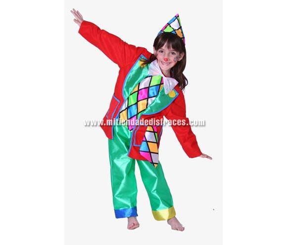 Disfraz de Payasito o Payaso infantil. Alta calidad. Hecho en España. Disponible en varias tallas. Incluye pantalones, camisa, pajarita y gorro.