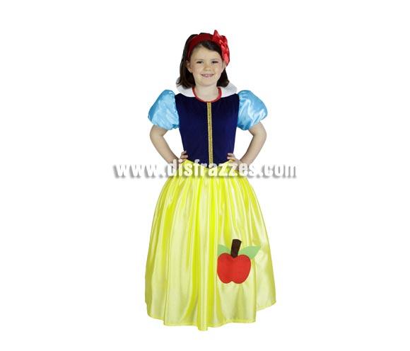 Disfraz de Princesa Bella infantil para Carnaval o para regalar en Navidad. Disfraz de Blancanieves barato disponible en varias tallas. Alta calidad. Hecho en España.
