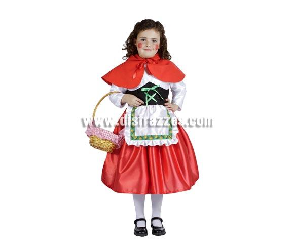 Disfraz barato de Caperucita infantil para Carnaval o para regalar. Varias tallas. Cesta, medias y zapatos NO incluidos. Alta calidad. Hecho en España.