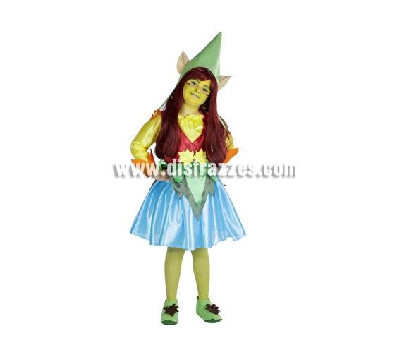 Disfraz de Enanita o Duendecilla infantil para Carnaval y para Navidad. Varias tallas. Accesorios NO incluidos. Alta calidad. Hecho en España.
