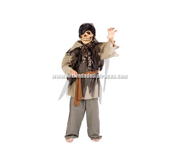 Disfraz de Pirata Zombie infantil. Buena calidad. Hecho en España. Disponible en varias tallas. Máscara NO incluida. Disfraz de los piratas malos de la peli PIRATAS DEL CARIBE