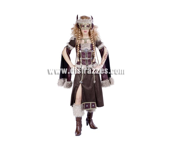 Disfraz de Vikinga adulta para Carnaval. Talla única 40/44. Accesorios NO incluidos. Buena calidad. Hecho en España.