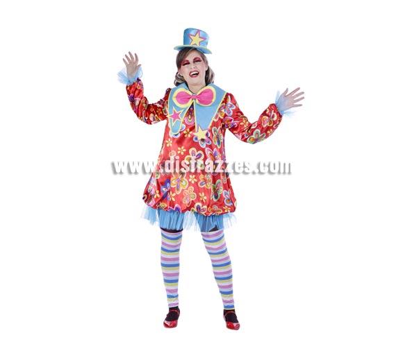 Disfraz de Payasa o Payasita adulta para Carnaval. Talla única 40/44. Buena calidad. Hecho en España.
