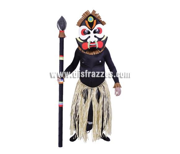 Disfraz de Zulú con sorpresa adulto para Carnaval. Talla única. Incluye máscara y disfraz completo con sorpresa negra (fíjate bien entre las piernas y en la punta, jajajaja). Lanza NO incluida. Disfraz para Despedida de soltero.