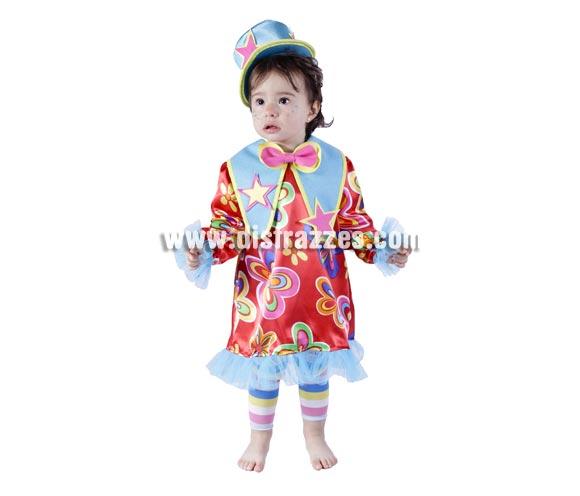Disfraz barato de Payasa o Payasita bebé para Carnaval. Talla de 18 meses. Buena calidad. Hecho en España.
