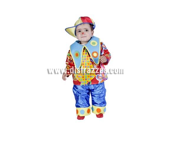 Disfraz barato de Payaso o Payasito bebé para Carnaval. Talla de 18 meses. Buena calidad. Hecho en España.