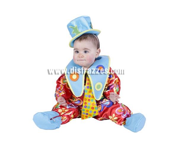 Pelele Payasito bebé barato para Carnaval. Talla de 6 a 12 meses. Incluye el gorrito. Buena calidad. Hecho en España.