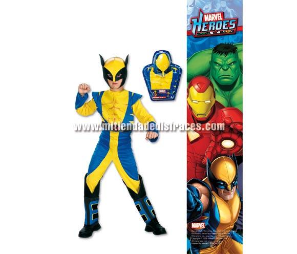 Disfraz de Wolverine infantil. Disponible en varias tallas. Incluye disfraz y careta. Disfraz con licencia ideal para pedir a los Reyes Magos o Papa Noel. Presentación en blister regalo.