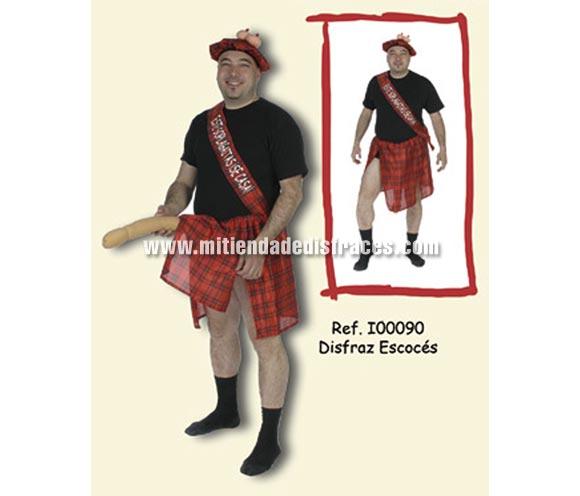 Disfraz de Escocés con sorpresa adulto. Talla Universal. Incluye gorro con tetas, falda con Sorpresa y cinta con impresión ÉSTE SOPLAGAITAS SE CASA. Un disfraz ideal para Despedidas de Soltero.