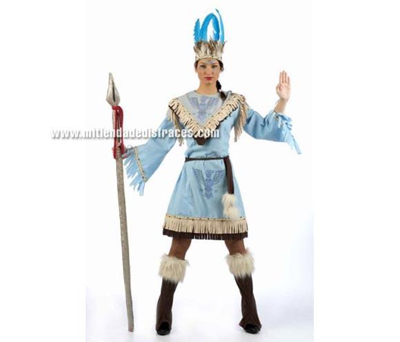 Disfraz de India Condor adulta Deluxe. Alta calidad. Hecho en España. Disponible en varias tallas. Incluye vestido, cinturón, cubrebotas y diadema. Lanza NO incluida. El dibujo del pájaro está hecho de Strass.