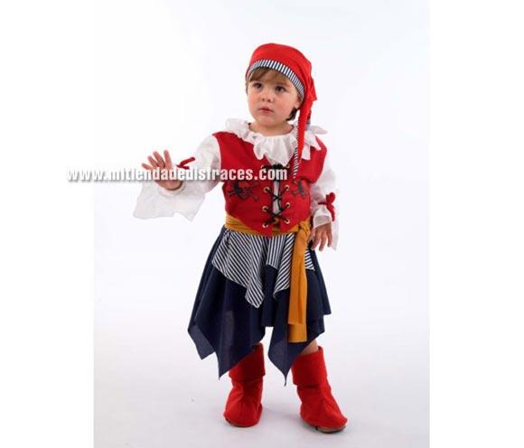 Disfraz de Pirata Bucanera infantil Deluxe. Hecho en España. Disponible en varias tallas. Incluye vestido, cubrebotas, pañuelo y fajín.
