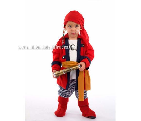 Disfraz de Pirata Bucanero infantil Deluxe. Hecho en España. Disponible en varias tallas. Incluye pañuelo, chaqueta con camisa y fajín y pantalón con cubrebotas.