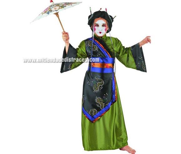 Disfraz de Gheisa infantil Deluxe. Hecho en España. Disponible en varias tallas. Incluye cinturón y kimono.