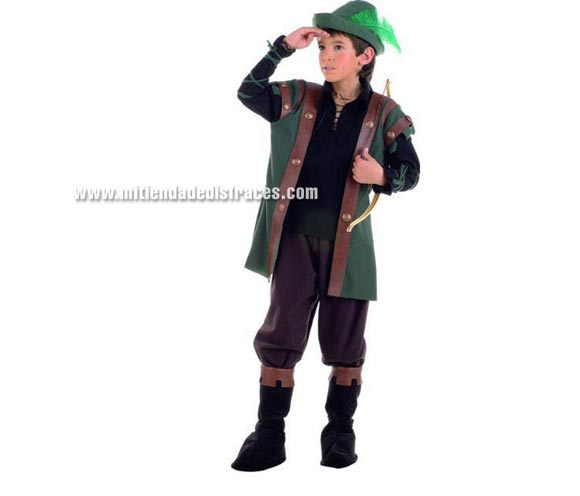 Disfraz de Robin Hood infantil Deluxe. Hecho en España. Disponible en varias tallas. Incluye pantalón, gorro, cubrebotas y camisa con chaleco.