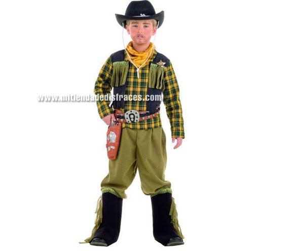 Disfraz de Vaquero Bandido infantil Deluxe. Hecho en España. Disponible en varias tallas. Incluye pantalón, cubrebotas, pañuelo y camisa con chaleco. Sombrero, cartuchera y pistolas NO incluidas, podrás encontrar en nuestra sección de Complementos.