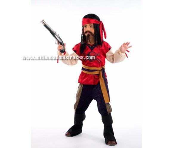 Disfraz de Pirata Corsario infantil Deluxe. Hecho en España. Disponible en varias tallas. Incluye camisa, pañuelo, fajín y pantalón con cubrebotas. Pistola NO incluida, podrás verla en la sección Complementos.