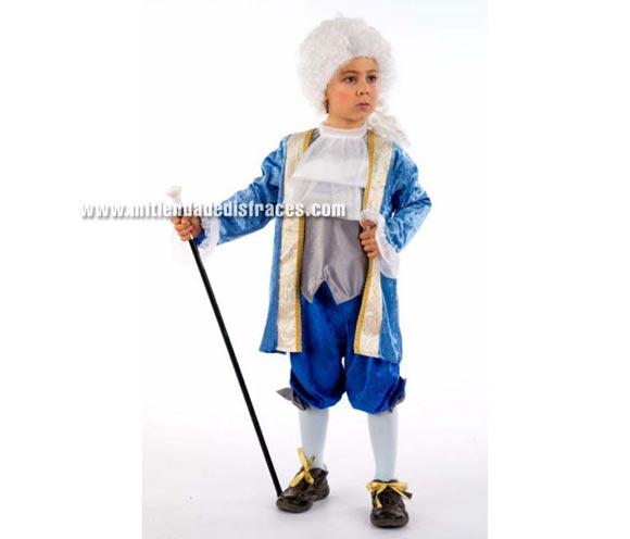 Disfraz de Caballero de Época Luis XV infantil Deluxe. Hecho en España. Disponible en varias tallas. Incluye lazos de los zapatos, pantalón, chaqueta  con camisa y chorrera del cuello. Peluca NO incluida, podrás verla en la sección Pelucas.