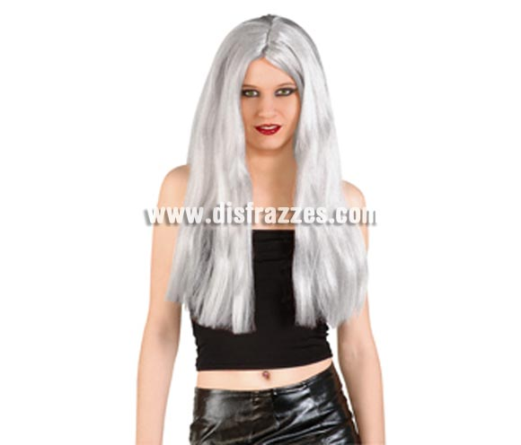 Peluca Bruja vieja gris para Halloween.
