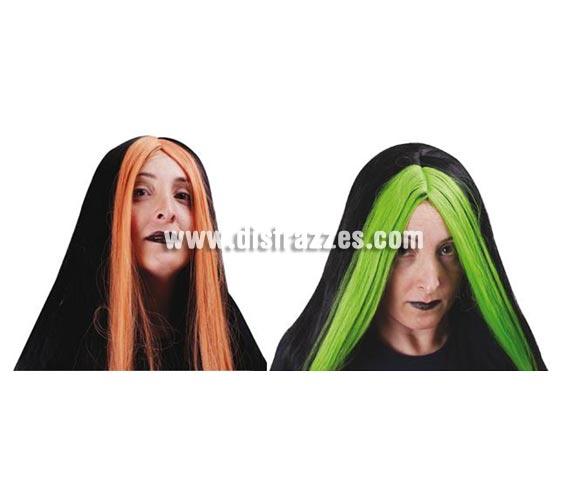 Peluca de Bruja con mechón de colores para Halloween. Dos modelos surtidos.