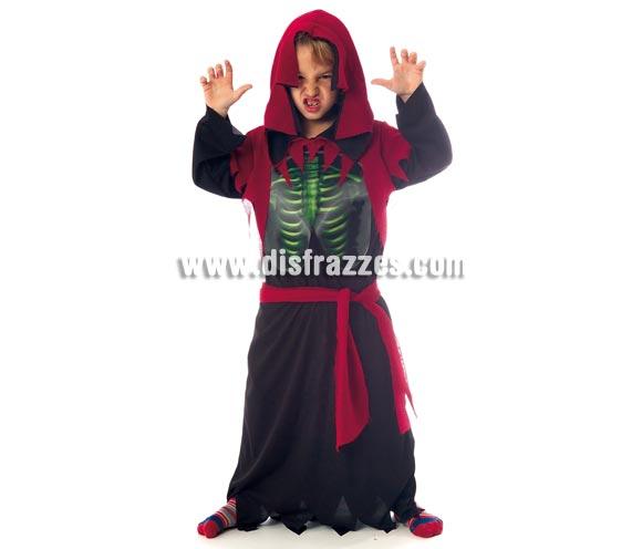 Disfraz de Esqueleto Holográfico intantil para Halloween. Talla de 8 a 10 años. Incluye túnica con capucha, pecho holográfico y cinturón.