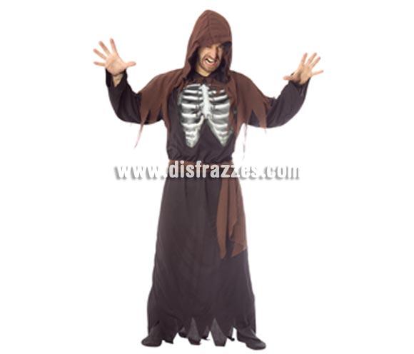 Disfraz de Esqueleto Holográfico adulto para Halloween. Talla estándar. Incluye túnica con capucha, pecho holográfico y cinturón.