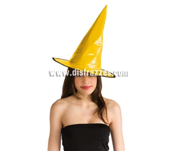 Sombrero de Bruja de charol amarillo para Halloween.