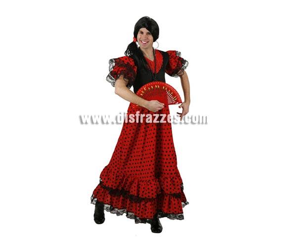 Disfraz de Flamenca lunares para hombre. Talla 2 ó talla Standar M-L = 52/54. Incluye vestido. Peluca y abanico NO incluidos, podrás verlos en la sección Complementos. Disfraz de Sevillana o Andaluza para hombre.