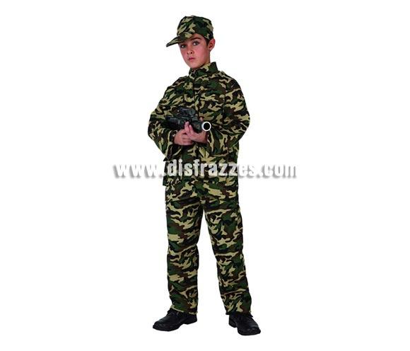 Disfraz de Militar para niños de 10 a 12 años. Incluye mono. Metralleta NO incluida, podrás verla en la sección de Complementos.
