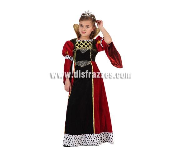 Disfraz de Reina Medieval para niñas de 5 a 6 años. Incluye vestido. Corona NO incluida, podrás verla en la sección de Complementos.