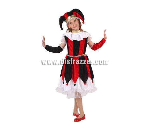 Disfraz de Arlequín o Bufón para niñas de 5 a 6 años. Incluye vestido, manguitos y gorro.