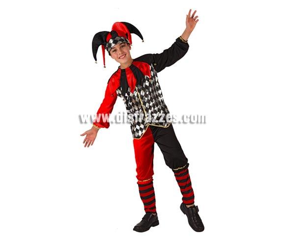 Disfraz de Arlequín o Bufón para niños de 7 a 9 años. Incluye pantalón, camisa con cuello y gorro.