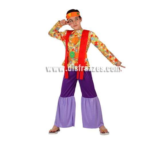 Disfraz de Hippie para niños de 7 a 9 años. Incluye camiseta con cinturón, pantalón de campana y cinta de la cabeza.