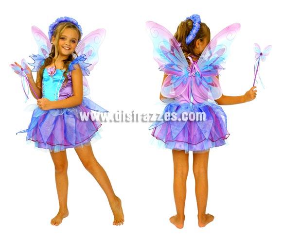 Disfraz de Hada Azul para niñas de 7 a 9 años. Incluye vestido, alas, varita y corona.
