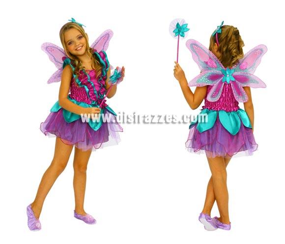 Disfraz de Hada Violeta para niñas de 5 a 6 años. Incluye vestido, alas, varita y diadema.