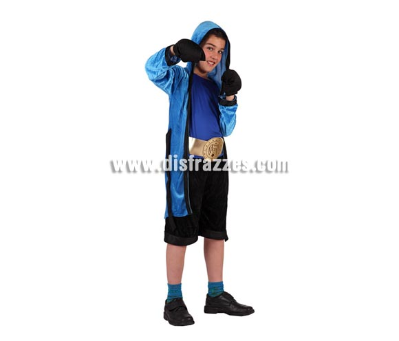 Disfraz de Boxeador para niños de 7 a 9 años. Incluye pantalón, camiseta, guantes cinturón y bata con capucha.