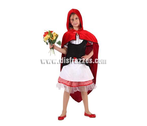 Disfraz de Caperucita Roja para niñas de 5 a 6 años. Incluye vestido y capa con capucha. Ramo NO incluido.