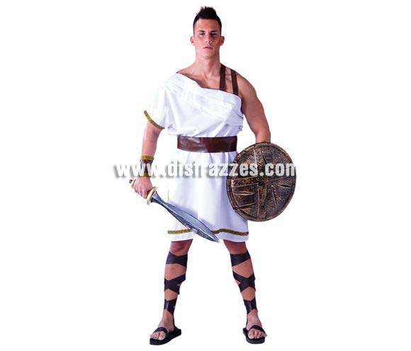 Disfraz de Espartano para hombre. Talla standar 52/54. Incluye vestido, cinturón y brazaletes. Espada y escudo NO incluidos, podrás ver éstos artículos o similares en la sección de Complementos. Cintas de las piernes NO incluidas. También puede valer para disfraz de Romano en Navidad.