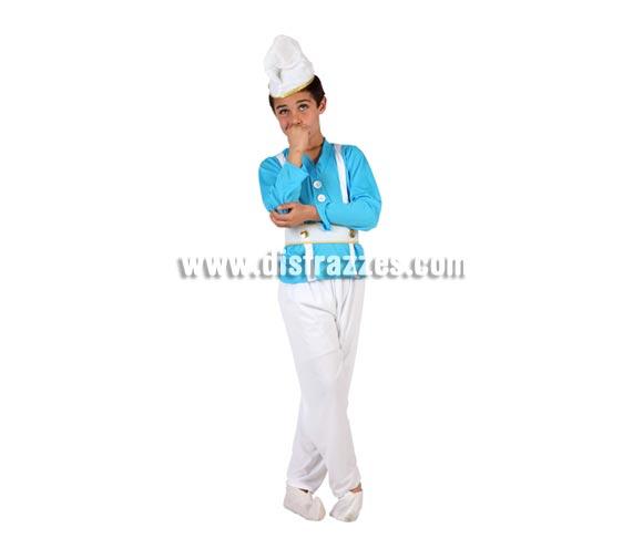 Disfraz de Enanito Azul o Pitufo para niños de 7 a 9 años. Incluye pantalón, camiseta, cinturón y gorro.