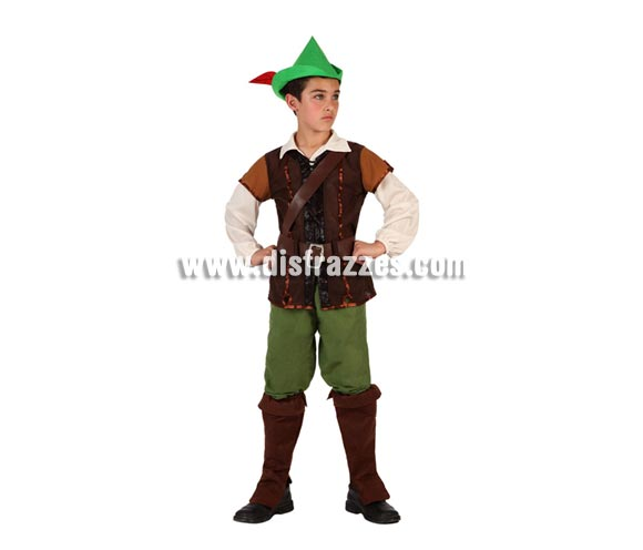 Disfraz de Niño de los Bosques o de Robin Hood para niños de 10 a 12 años. Incluye cubrebotas, pantalón, camiseta, chaleco, cinturón y gorro con pluma.
