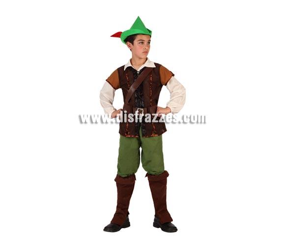 Disfraz de Niño de los Bosques o de Robin Hood para niños de 7 a 9 años. Incluye cubrebotas, pantalón, camiseta, chaleco, cinturón y gorro con pluma.