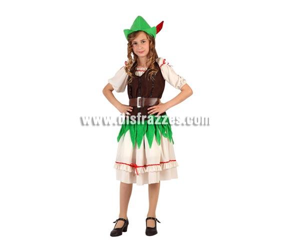 Disfraz de Niña de los Bosques o de Robin Hood para niñas de 5 a 6 años. Incluye falda, camiseta, corse, cinturón y gorro con pluma.