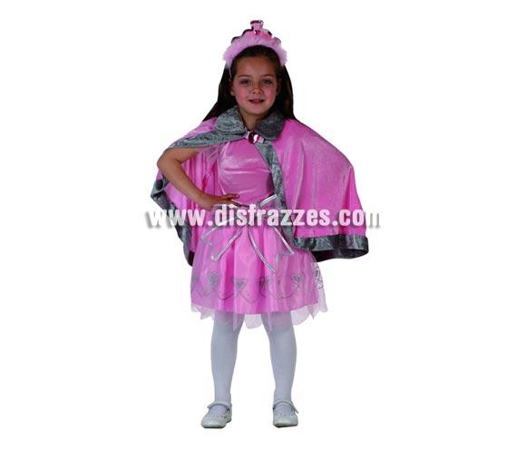 Disfraz de Princesa Rosa para niñas de 5 a 6 años. Incluye vestido, capa y diadema.