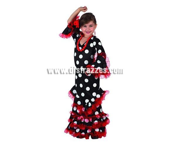 Disfraz de Sevillana Negro con lunar blanco para niñas de 3 a 4 años. Incluye vestido y flor de la cabeza. Pendientes y Collar NO incluidos, podrás verlos en la sección de Complementos.